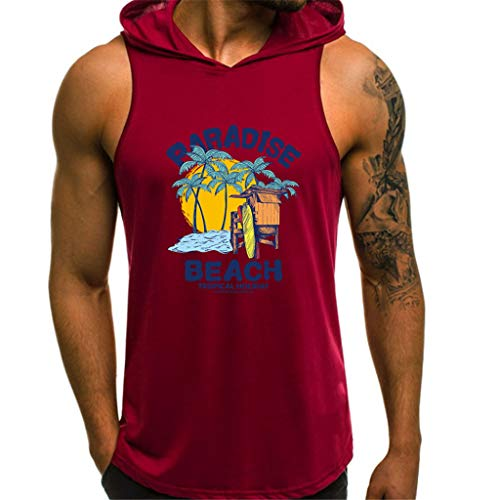 Men Fashion Printing Style Design Sport Tops Casual Shirts Sleeveless Blouse Red -