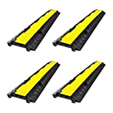 Pyle Pro Protective Cable Floor Ramp Track Cover with Anti-slip Surface (4 Pack)