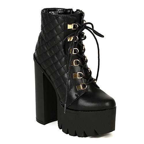 BUMPER ROCKER17 Women's Round Toe Lace Up Side Zipper Platform Chunky Ankle Boot, Color:BLACK, Size:7