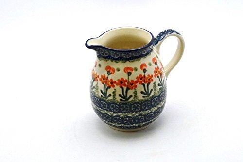 Polish Pottery Creamer - 10 oz. - Peach Spring Daisy (Creamer Daisy)