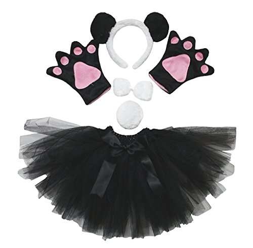 Petitebella Animal Headband Bowtie Tail Gloves Tutu 5pc Girl Costume -