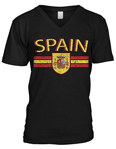 (Amdesco Men's Spain Flag and Coat of Arms, Espana Flag V-Neck T-Shirt, Black Medium)
