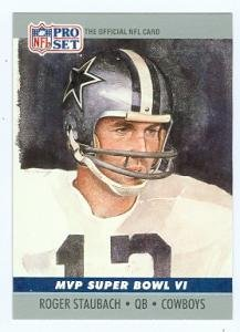(Roger Staubach football card (Dallas Cowboys) 1990 pro Set #6)