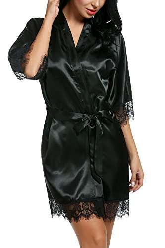 Avidlove Women's Pure Color Kimono Robes Satin Nightwear Bridesmaids Short Style Black - Style Short Black