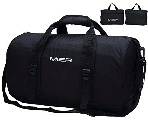 MIER Foldable Small Duffel Bag Lightweight for Sports, Gyms, Yoga, Travel, Overnight, Weekender, (Small Bag Strap)