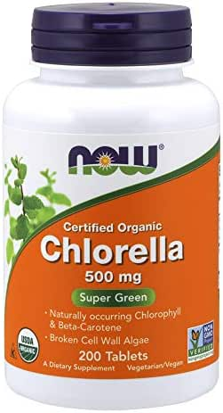 NOW Supplements, Organic Chlorella 500 mg with naturally occurring Chlorophyll, Beta-Carotene, mixed Carotenoids, Vitamin C, Iron and Protein, 200 Tablets