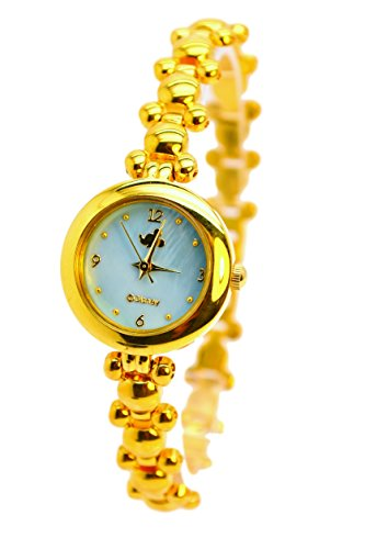 Disney Mickey Mouse Mother-Of-Pearl Dial Women's Gold -Tone Link Bracelet Watch (Gold Tone Blue Dial)