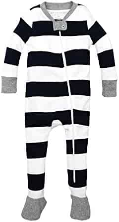 Burt's Bees Baby - Baby Boys' Sleeper Pajamas, Zip Front Non-Slip Footed Sleeper PJs, 100% Organic Cotton