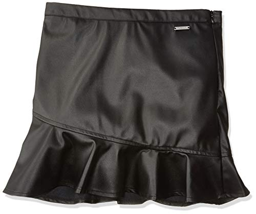 GUESS Girls' Big Elyza Leather Skirt, Jet Black, 14
