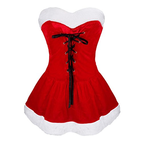 [iEFiEL Women Lace up Christmas Costume Dress with Hat G-string Cosplay Outfit] (Little Miss Princess Costume)