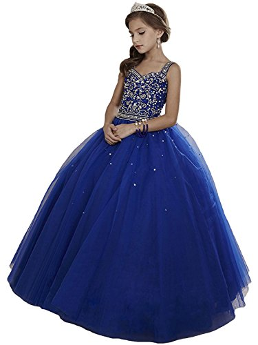 Girls' Crystal Long Pageant Dresses Birthday Party Gowns Royal Blue A US 08 by HOYO