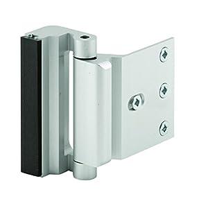 7. Defender Security U 10827 Door Reinforcement Lock, 3 in. Stop, Aluminum Construction, Satin Nickel Anodized Finish