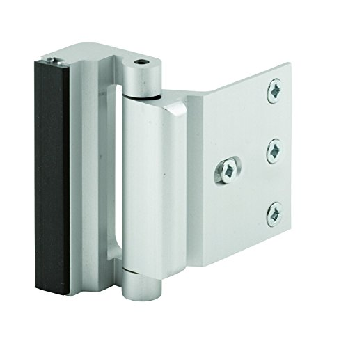 7. Defender Security U 10827 Door Reinforcement Lock, 3 in. Stop, Aluminum Construction, Satin Nickel Anodized Finish