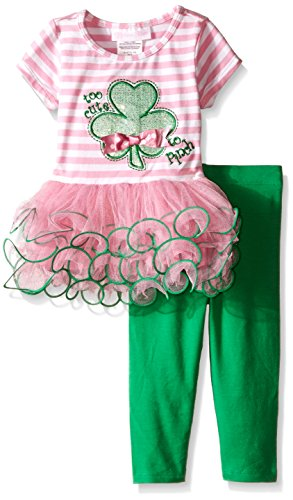 [Appliqued Knit Tutu Dress with Legging Set] (Cute St Patricks Day)