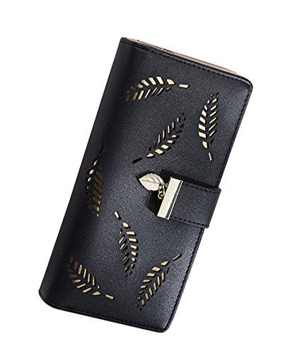 Women Fashion Leather Wallet Black - 8