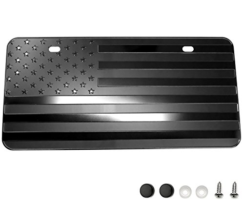 "LFPartS USA American Flag Metal Embossed License Plate (12""x6"", Black)"
