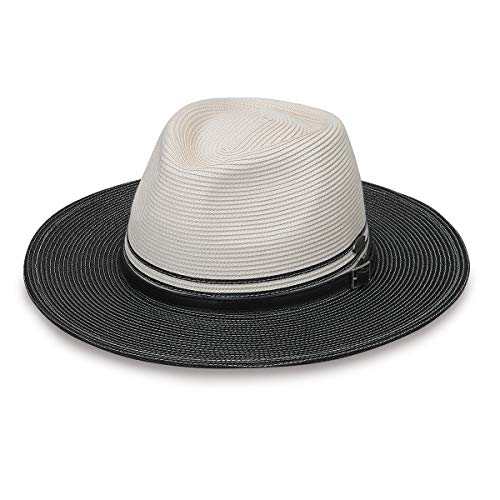 Wallaroo Hat Company Women's Kristy Fedora - UPF 50+, Lightweight, Adjustable, Packable, Designed in Australia, Two-Toned Ivory/Black