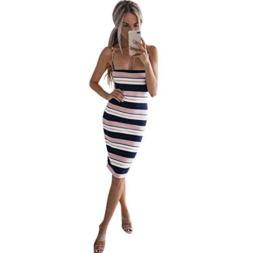 WYTong Women Sexy Stripes Sheath Dress Spaghetti Strap Bodycon Summer Dress Party Dresses