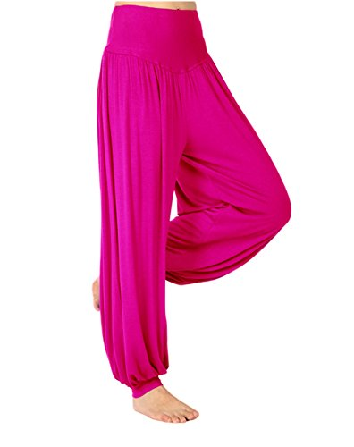 AvaCostume Womens Modal Cotton Soft Yoga Sports Dance Harem Pants, M, Rosered