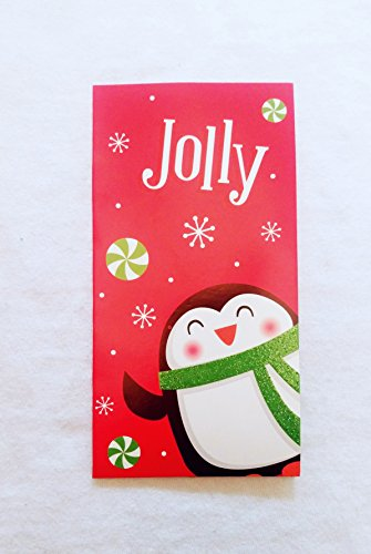 Christmas Money or Gift Card Holder Cards - Set of 8 with Metallic/Glitter Accents (Jolly)
