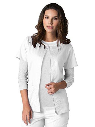 EON Maevn Women's Back Mesh Panel Short Sleeve Zip Front Jacket(White, Large)