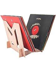 "MPK Vinyl Record Storage Holder, Solid Wood Display Stand Environmentally Stylish Record Holder Premium Design to Hold 30 7"" or 12"" LP Music Storage Rack(Crude Wood)…"