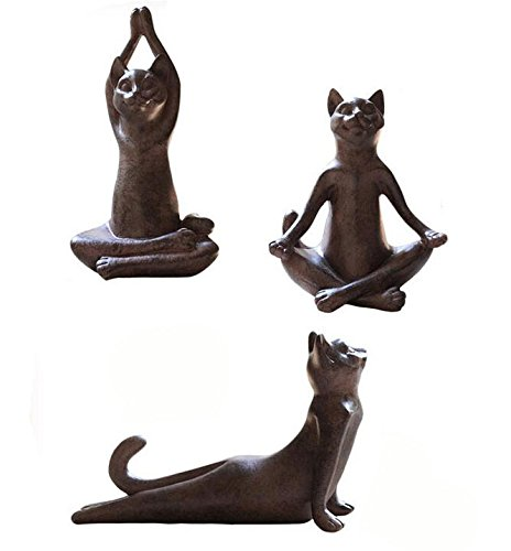 Set of 3 Rusty Brown Vintage Rustic Decorative Resin Animal Cat Yoga Pose Statue, Kitty Yoga Figurine Statue, Meditation Room Yoga Figurine, Yoga Pose Statue, Yoga - Statue Cat Figurine