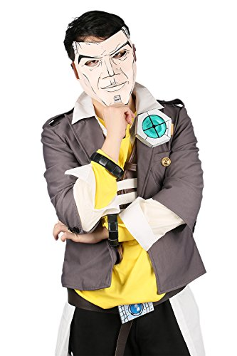 Cosplay Costumes Borderlands 2 (XCOSER Jack Cosplay Mask Jacket Vest Shirt Belt Costume Suit for Halloween)