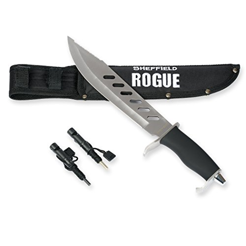 SHEFFIELD Rogue 10 inch Fixed Blade Hunting Knife W/ Bonus Sheath Firestarter Sharpener