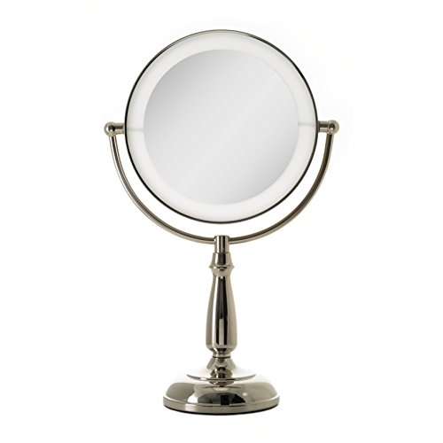 Zadro Ultra Bright Dual-Sided LED Lighted Vanity Make Up Mirror with 1X & 5X magnification in Polished Nickel Finish