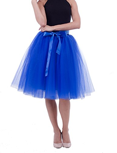 Womens High Waist Princess A Line Midi/ Knee Length Tutu Tulle Skirt for Prom Party Royal Blue  Free Size