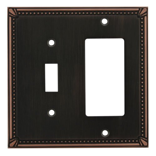 Cosmas 44072-ORB Oil Rubbed Bronze Single Toggle / GFI Decora Rocker Combo Wall Switch Plate Switchplate Cover