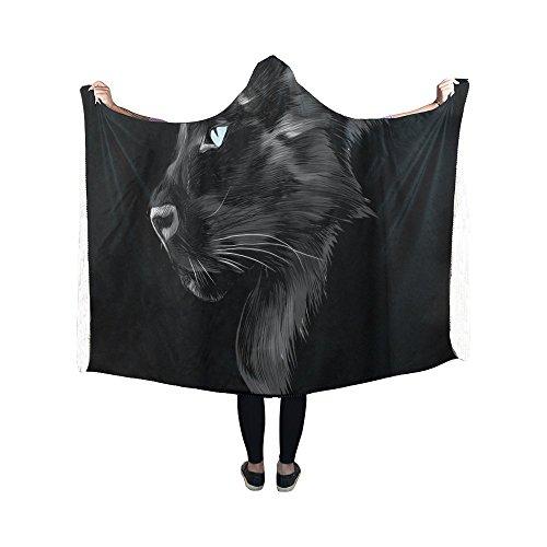 Black Panther Hooded Blanket Pilling Polar Fleece Hooded Thr