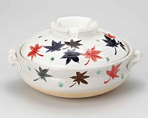 Momiji for 2-3 persons 8.3inch Donabe Japanese Hot pot White Ceramic Made in Japan by Watou.asia