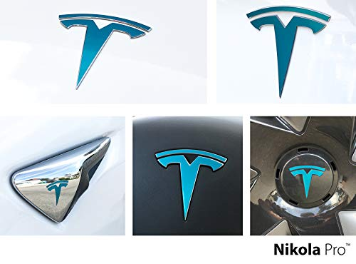 Nikola Pro Tesla Model 3 Logo Decal Wrap Kit (Gloss Teal)