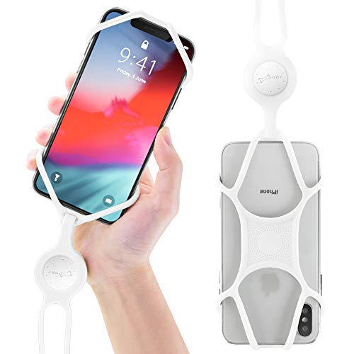 Sliders White Necklace - Universal Cell Phone Lanyard Holder, Silicone Neck Strap Smartphone Case for iPhone Xs Max XR X 8 7 6S Plus Samsung Galaxy S10 S9 S8 Note 9 Pixel 3 XL, Phone Tie Series (White)