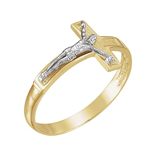 Security Jewelers Two-Tone Crucifix Ring, 14kt White and Yellow Gold, Ring Size 10