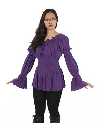 Pirate Princess Dress (Dress Like A Pirate Romantic Medieval Renaissance Wench Princess Blouse (Plus, Purple))