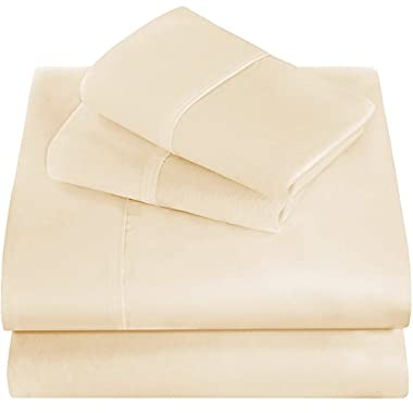 Premium 1800 Ultra-Soft Microfiber Collection Queen Sheet Set, Hypoallergenic, Easy Care, Wrinkle Resistant, Deep Pocket (Queen, Ivory)