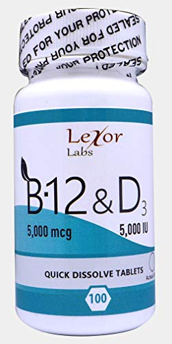 5000 Sublingual Mcg Tablets (Lexor Labs Methylcobalamin B-12 5,000 Mcg & D3 5,000 Iu Quick Dissolve Tablets, 100 Count)
