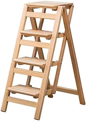Escalera Plegable Madera Taburete de 4 Pasos para Adultos niños Escaleras de Madera de Cocina Taburetes pequeños para pies Banco de Zapatos portátil Interior/Estante de Flores (Color: Color Madera: Amazon.es: Hogar