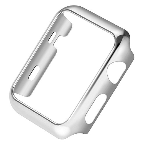 vanki Case Compatible with Apple Watch Case Series 3 Thin PC iWatch Protective Cover for 38mm 42mm (38mm, Silver) Case Shape Womens Watch