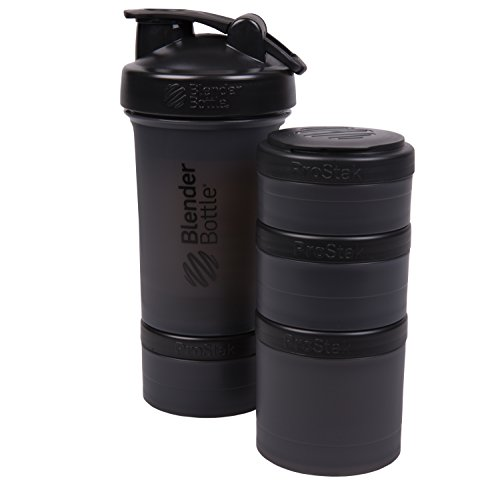 BlenderBottle ProStak 22 Oz Bottle with 6 Piece Twist n' Lock Storage Set, Black (Jar Traditional Rack)