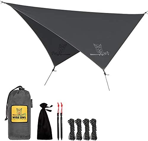 Wise Owl Outfitters Rain Fly Tarp The WiseFly Premium 11 x 9 ft Waterproof Camping Shelter Canopy Lightweight Easy Setup for Hammock or Tent Camp Gear 6 Styles