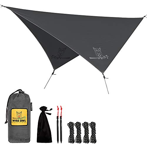 Wise Owl Outfitters Rain Fly Tarp - The WiseFly Premium 11 x 9 ft Waterproof Camping Shelter Canopy...