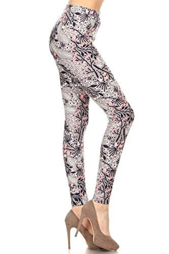R899-PLUS Pink Blossoms Classic Print Fashion Leggings