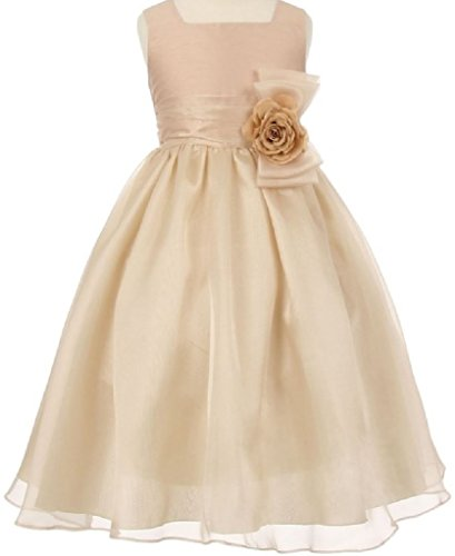 Little Girls Two Tone Square Neck Corsage Special Flowers Girls Dresses Champagne 6