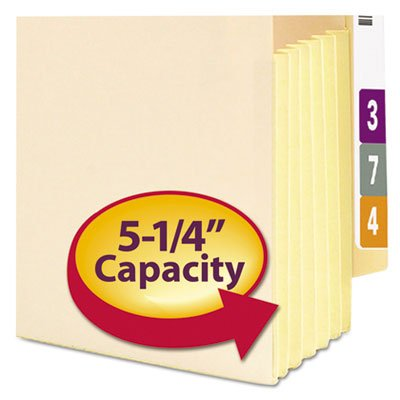 5 1/4'' Accordion Expansion End Tab File Pockets with Tyvek, Ltr, Manila, 10/Box, Total 40 EA, Sold as 1 Carton
