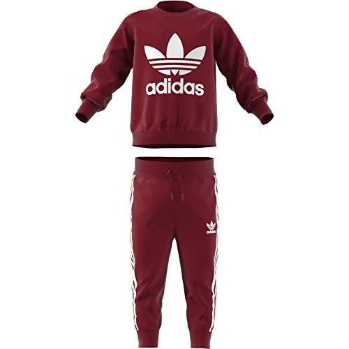 Adidas Crew Enfant Survêtement blanc Trefoil collegiate Burgundy Rouge PqCPr45wt