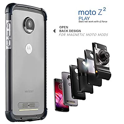 Moto Z2 Play Case Bumper - Mod Compatible (Does not Work with Other Models Moto Z2 Force, Moto Z, Z Force, and Z-Play 1st gen) Ademite (Black/Clear)
